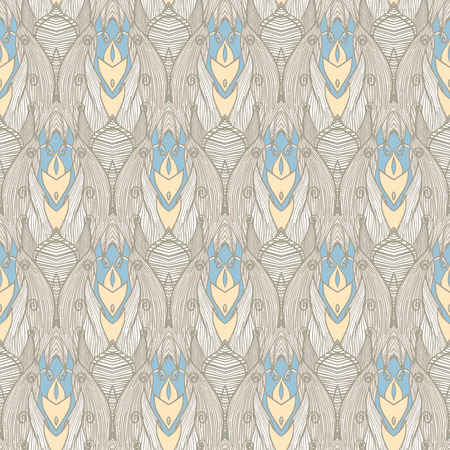seamless gray striped pattern with blue and yellow leaves and swirls Vector