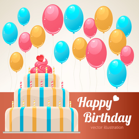 Cute birthday card with a beautiful striped cake with candles and balloons Vector