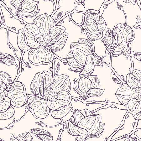 beautiful natural background with hand-drawn magnolias Vector