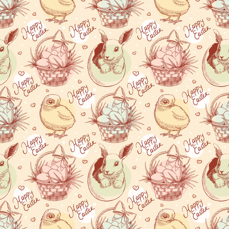 beautiful vintage Easter seamless background with rabbits, chickens and Easter baskets Vector
