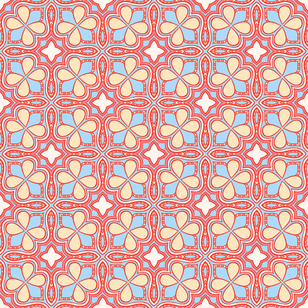 seamless abstract blue and orange pattern with flowers Vector