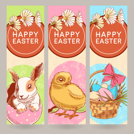 three beautiful Easter greeting banner with cute chicken and rabbit and basket with eggs Vector