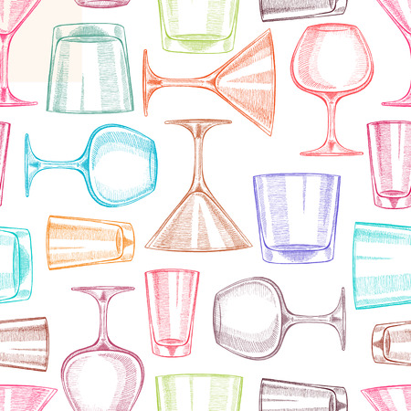 Beautiful seamless background with different hand-drawn glasses for alcohol  Illustration