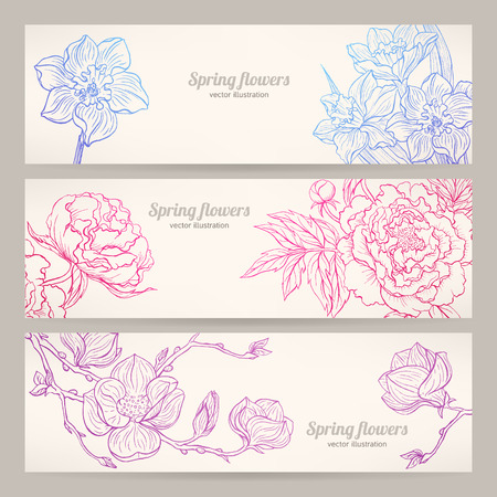 three beautiful horizontal banners with different hand-drawn flowers Vector