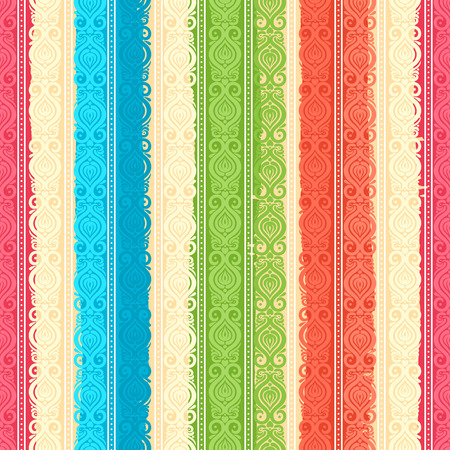 beautiful retro color floral vertical pattern with brush strokes Vector
