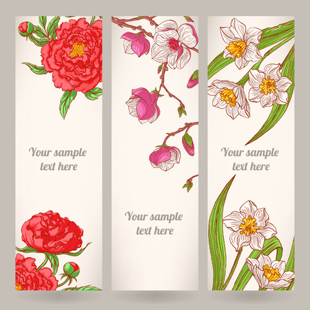 three beautiful vertical banners with different hand-drawn flowers Vector