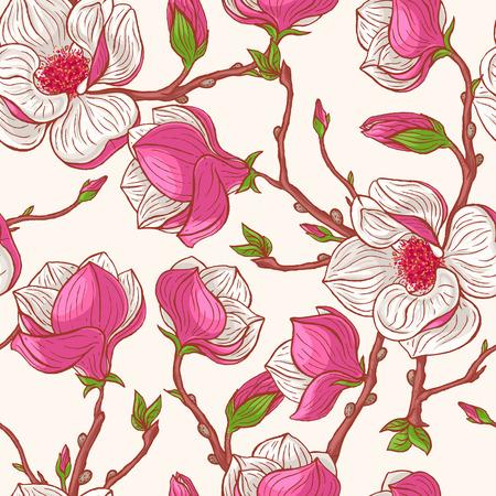 beau fond naturel transparente avec magnolias roses dessinés à la main Vecteurs