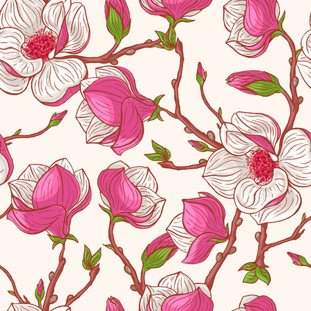 beautiful seamless natural background with hand-drawn pink magnolias Illustration
