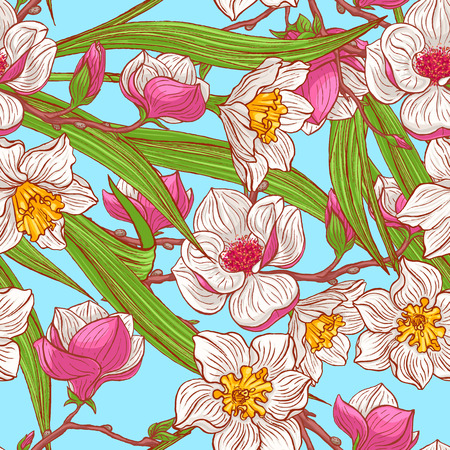 beautiful natural background with hand-drawn narcissus and pink magnolias