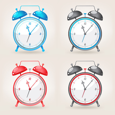 set of different colors cute alarm clock with beautiful retro arrows Vector