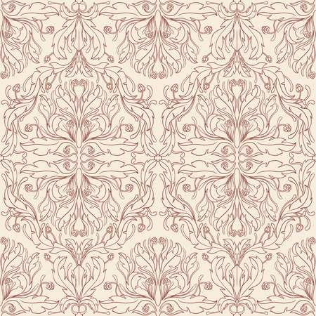 seamless summer natural beige and brown retro pattern with berries and leaves  Vector