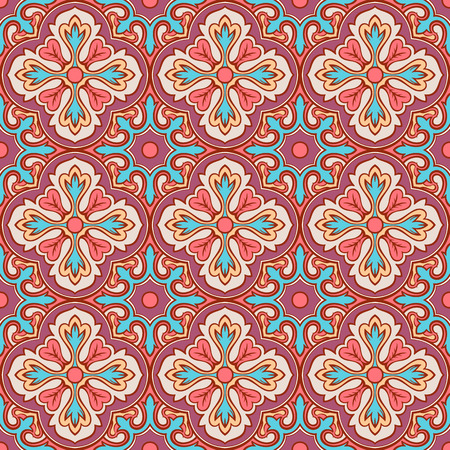 beautiful purple and pink seamless retro pattern with flowers Vector