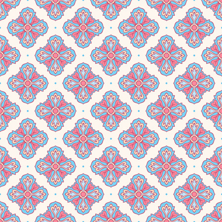 beautiful seamless retro pattern with flowers blue and pink petals Vector