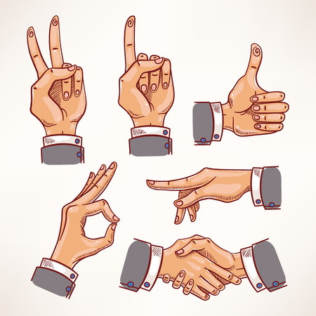 set with sketch hands in different interpretations  Vector