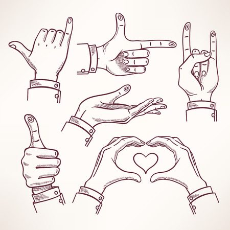 set with contour sketch hands in different interpretations    Vector