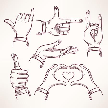interpretations: set with contour sketch hands in different interpretations