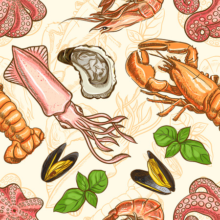 seafood. seamless background with marine animals and basil leaves