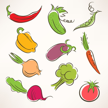 Set of ten different stylized vegetables   Vector