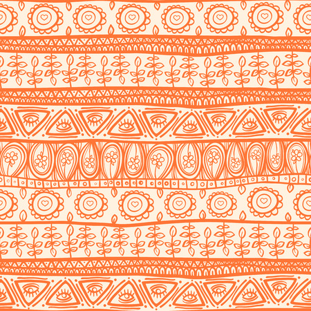 beautiful floral tribal striped orange ornament Vector