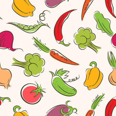 seamless background with different stylized vegetables Vector