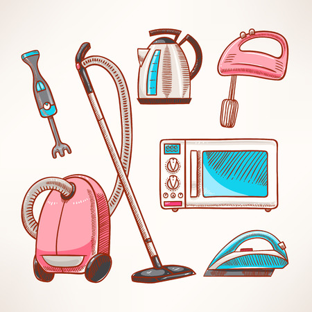 Set of several colored household appliances Vector