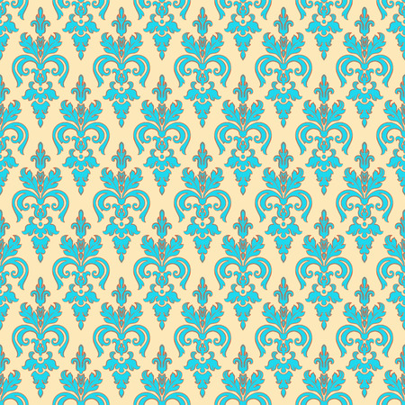 vintage turquoise seamless pattern on a beige background Vector
