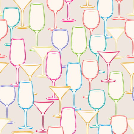 vermouth: Seamless background with multi-colored stemware for different beverages  Illustration
