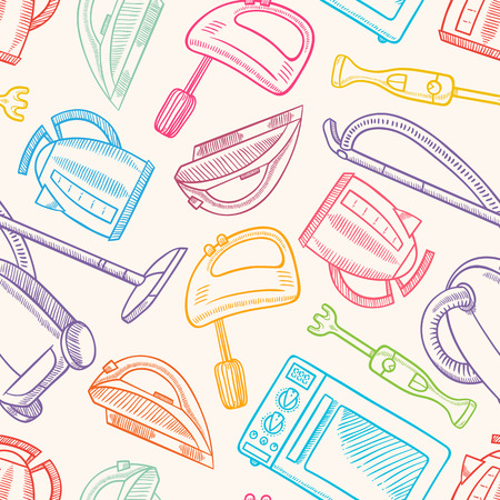 seamless background with several hand-drawn household appliances Vector