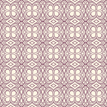 beautiful purple seamless retro pattern with flowers on a beige background Vector