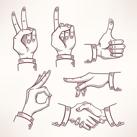 set with contour sketch hands in different interpretations - 2 Vector