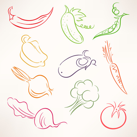 Set of ten different stylized outline vegetables Vector