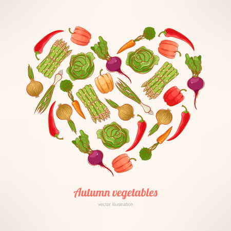 beautiful card with fresh vegetables stacked in the shape of a heart