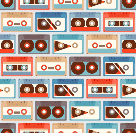 Seamless Pattern with retro different audiocassettes