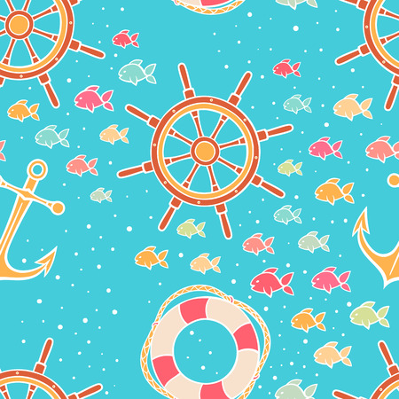 Marine seamless cute background with colored fish, anchors and steering wheels - 2 Vector