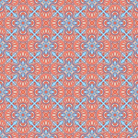 orange pattern: beautiful vintage floral abstract natural blue and orange pattern Illustration