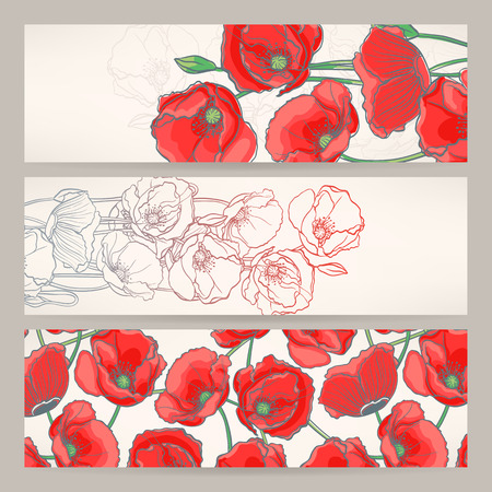 Set of three beautiful banners with red poppies Vector