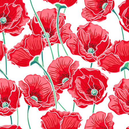 summer nature: beautiful summer nature background with red poppies Illustration
