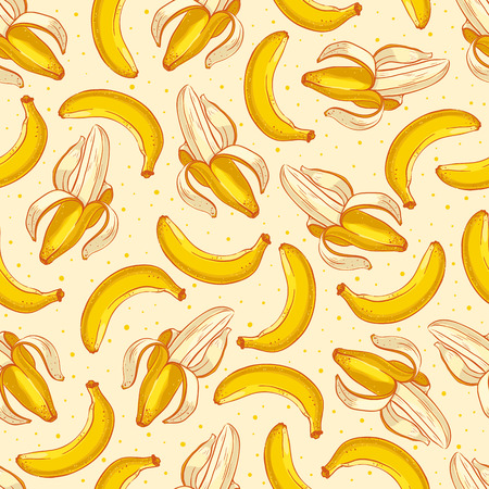 Cute seamless background with yellow bananas  Illustration