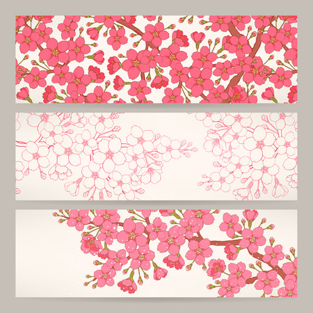 Set of three beautiful banners with pink cherry flowers Vector