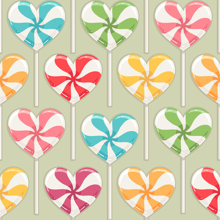 candy hearts: Cute seamless background with different color striped candy hearts