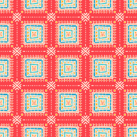 beautiful tribal pattern with squares on pink background Vector