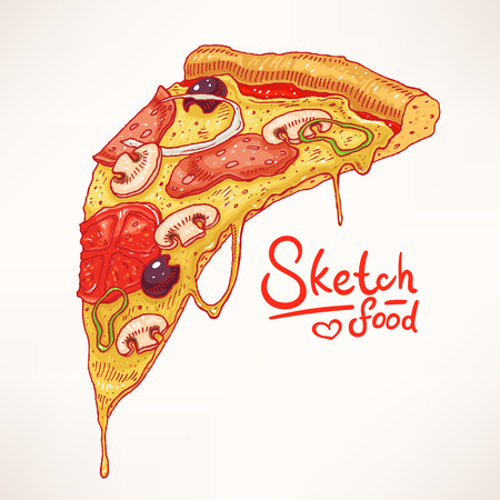 a slice of hand-drawn appetizing pizza - 2 Vector