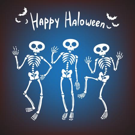 ハロウィンのグリーティング カード。暗い背景に 3 つのダンスのスケルトン