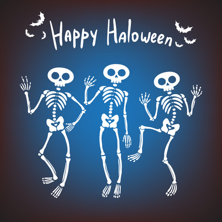greeting card for Halloween. Three dancing skeletons on a dark background
