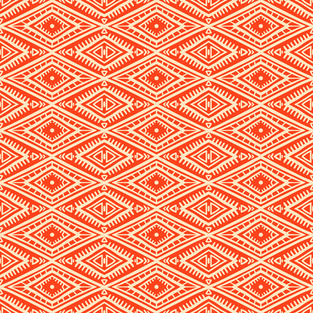 cute tribal orange and yellow seamless pattern with rhombuses