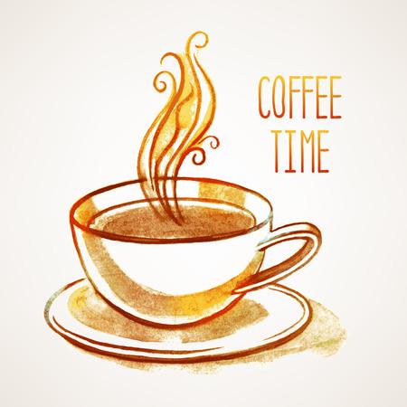 텍스트 손으로 그린 수채화 한잔의 커피와 장소 배경