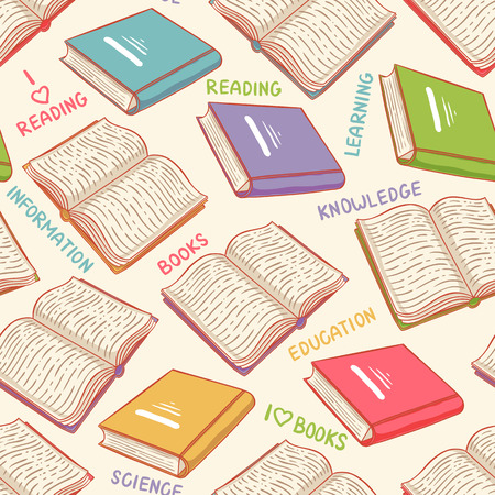 book page: cute seamless background with books and text Illustration