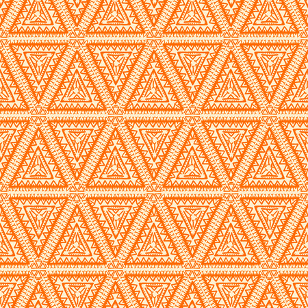 beautiful graphic tribal color seamless pattern with orange triangles - 2 Vector