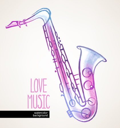 beautiful watercolor hand drawn saxophone on a beige background Vector