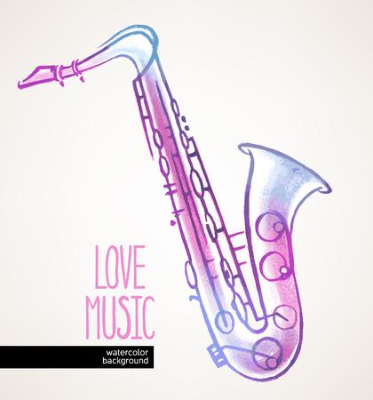 belle main d'aquarelle attirée saxophone sur fond beige Vecteurs